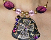 Statement Necklace Purple WIRE WRAPPED Stone Wire Choker NECKLACE Big Bold Hand Painted ooak Fashion Choker Boho Chic Fashion Gypsy Jewelry