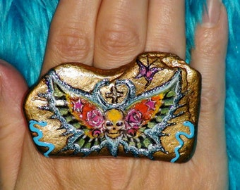 KNUCKLE RING Stone Ring Big Cocktail Ring Big Statement Ring Tattoo Designs OOAK Goth Hand Painted  Big Gold Ring Adjustable Ring Skull Ring