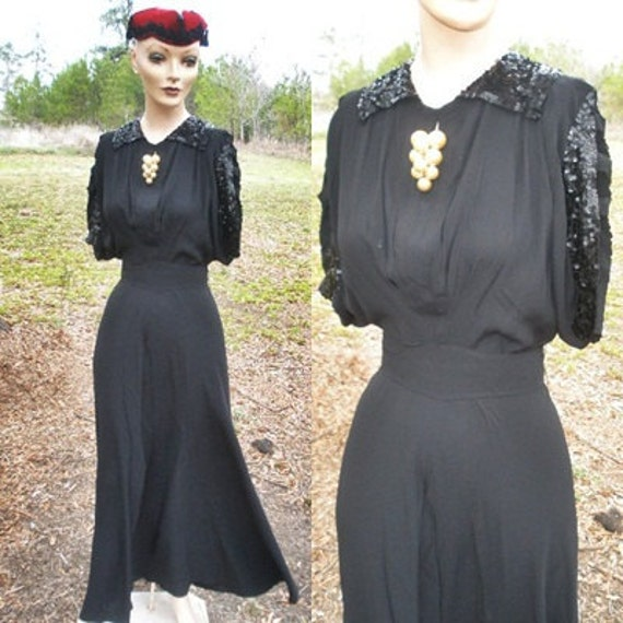 """Vintage 30s 40s WWII Black Crepe Sequins Fishtail Evening Long Dress Gown Cocktail Hollywood Batwing Sleeves Bust 38"""""""