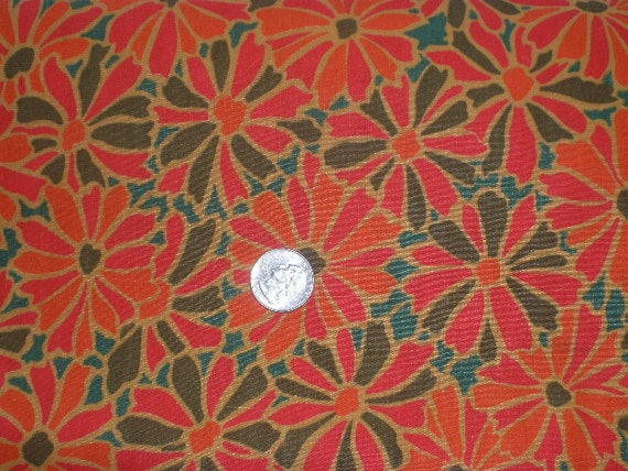 "Vintage 60s 70s 1960s 1970s Abstract Fabric Flower Power Cotton Sewing Quilting Pillows Crafts 5 1/4 yards 44"" wide"