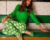 Womens Green Spot Print Leggings S/M
