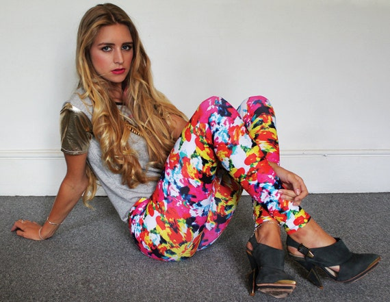 Handmade leggings,Butterfly Print  Leggings, High Waisted Leggings S/M