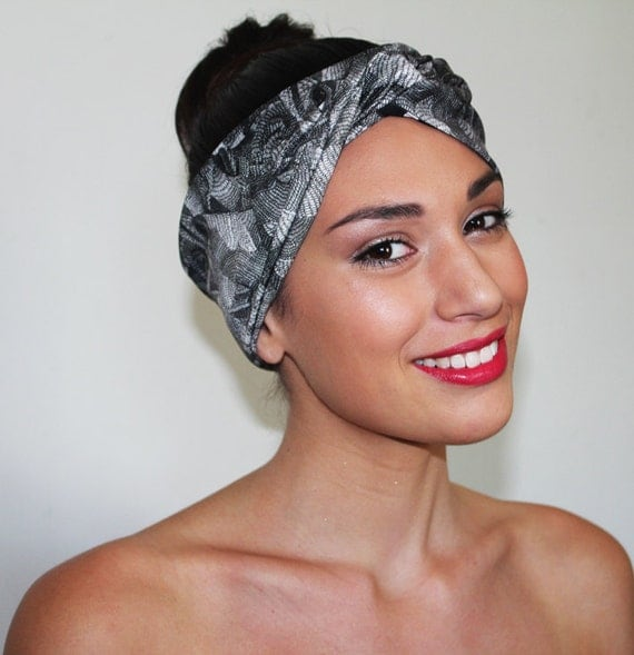 Turban Headband - 1950's style -  Escher  Vs Tea Cup Print