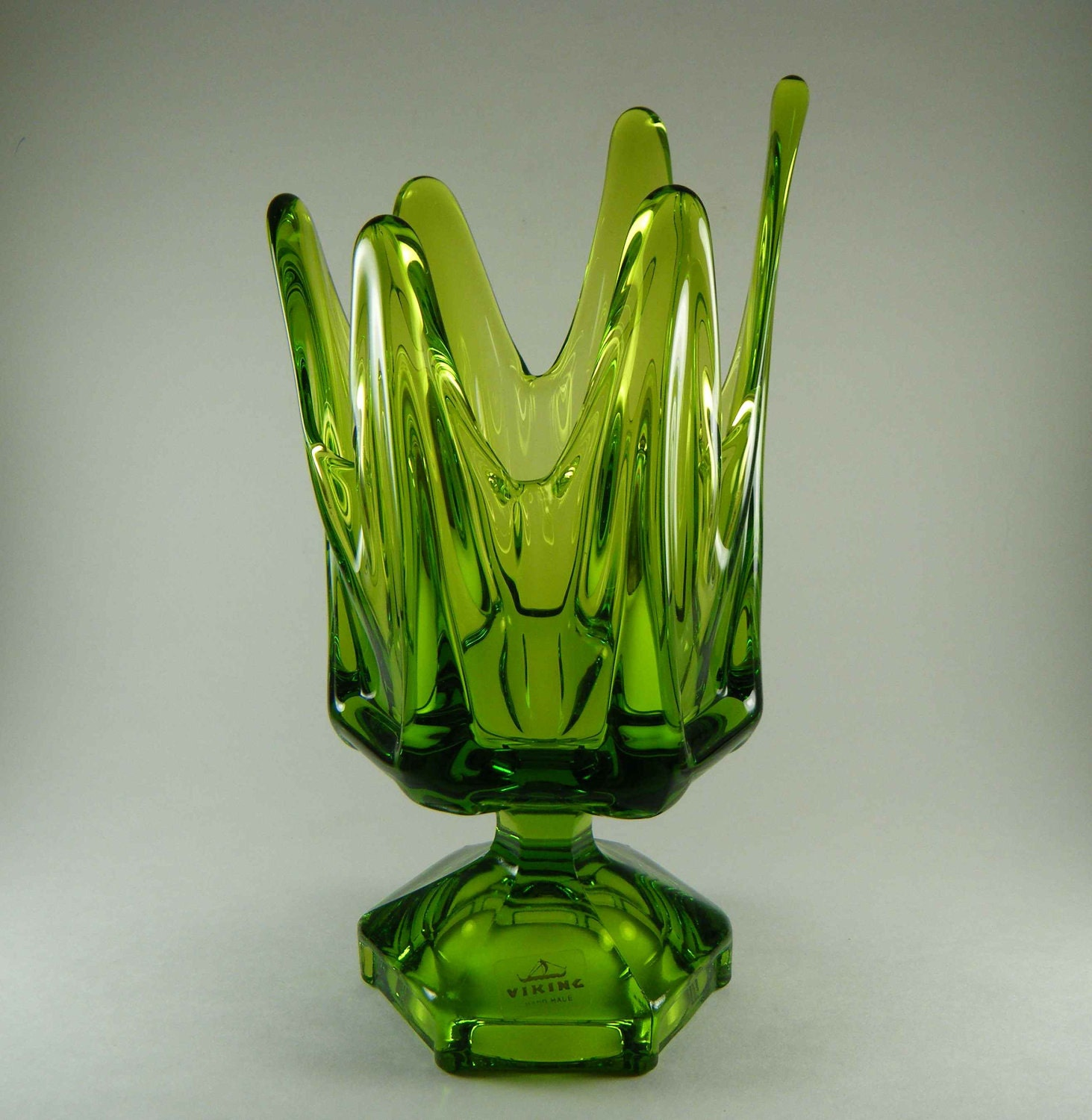 Vintage Viking Swung Glass Footed Vase Bowl by