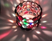 Candle Holder Votive Stained Glass gem - Home Decor Housewares & Living