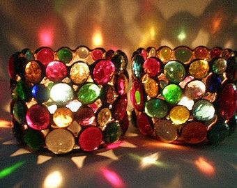 Candle Holders Votive Stained Glass Rainbow Gems