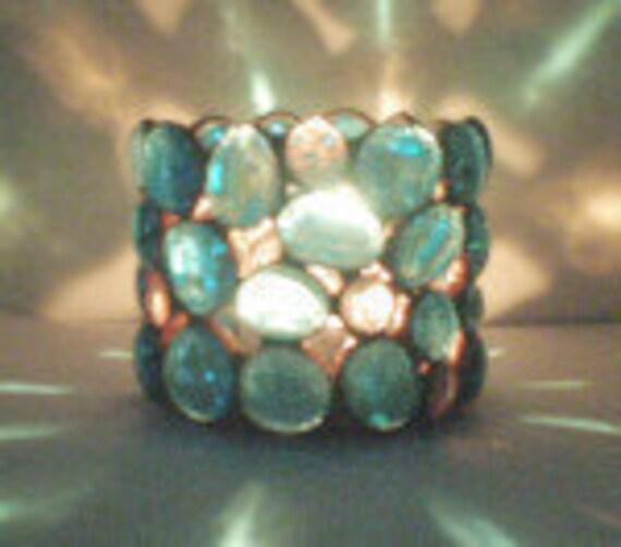 Candle Holder  Stained Glass gem Aqua Blue - Home  Decor
