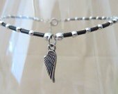 Black & Silver Glass Bead Anklet w/Wing Charm, Ankle Bracelet, Seed Bead Anklet, Christian Anklet, Anklets Angel Wing, Plus Size Anklet