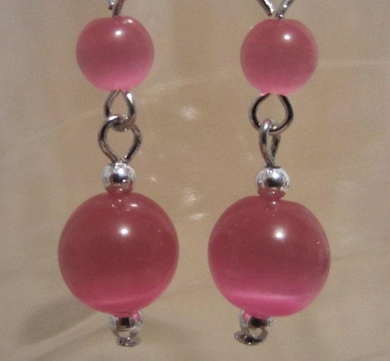 Pink Tiger Eye Dangle Earrings - Handmade - Fashion Jewelry - Ladies Gift - Pink Earrings