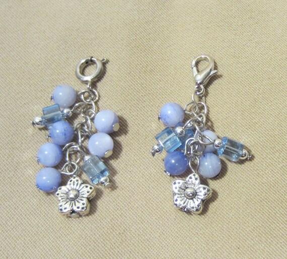 BFF Blue Sodalite & Crystals Daisy Charm / Purse Charm / Zipper Pull / Cell Phone Charm