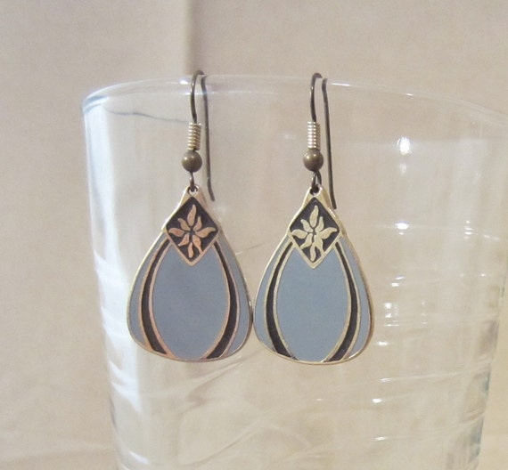 Vintage Black & Gray Cloisonné Earrings