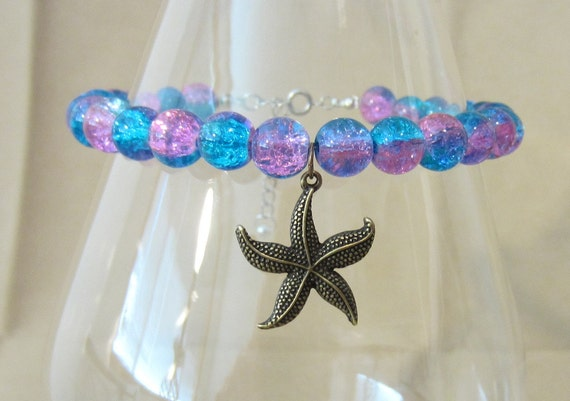 RESERVED for Jaime -- Turquoise & Purple Crackle Glass Bead Silver Open Heart Charm anklets - Set of 9