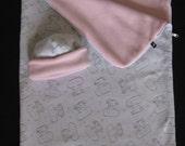 SLEEPING BAG BABY Fleece  Gray Elephants with Pink lining and hat