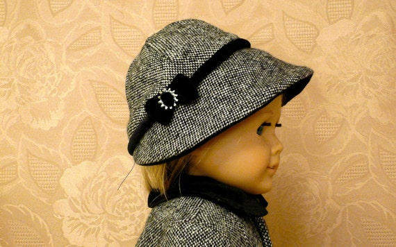 American Girl, 18 inch doll clothes: Coat, Hat, Boots, and Purse in wool tweed and black velvet