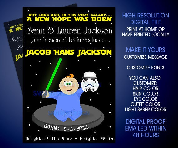 items similar to diy star wars theme custom baby shower invitation or