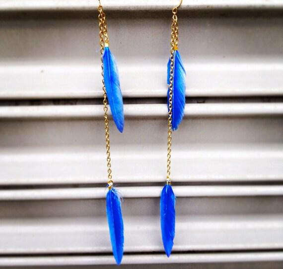 long feather earrings - Leila