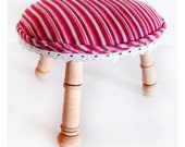 Tiny circular stool - handmade with 3 different turned legs, upholstered stripe cushion padding.