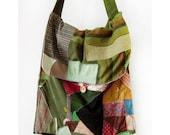 Magic Sack 01 - Patchwork expandable satchel, vintage, recycled fabrics, original bag design
