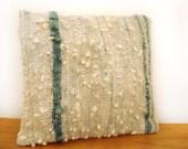 "Natural White/ Indigo Wool Cushion / Pillow Cover - 16"" x 17"" Handspun, handwoven."