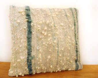 "Natural White/ Indigo Wool Cushion / Pillow Cover - 16"" x 17"" Handspun, handwoven."