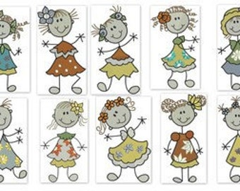 Sticky Floral Girls Machine Embroidery Ever So Cute Designs - 5x7