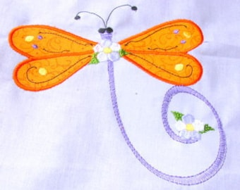 Dragonfly Applique Machine Embroidery Design 2 - 5x7