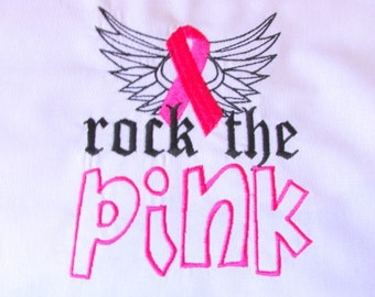 Rock The Pink Breast Cancer Awareness Machine Embroidery 5x7