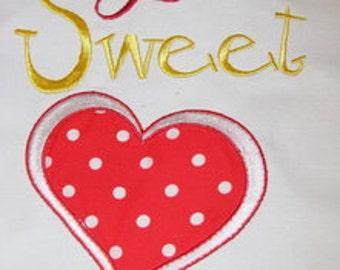 Lil Sweet Heart Applique Machine Embroidery Design - 4x4, 5x7 & 6x8