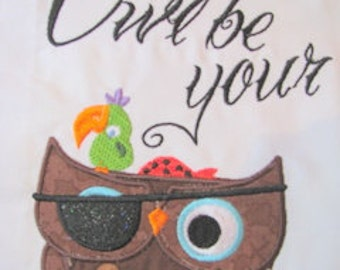 Owl Be Your Pirate Machine Applique Embroidery Design - 4x4, 5x7 & 6x8