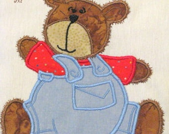 Bear Boy With Dungarees Machine Applique Embroidery Design - 5x7 & 4x4