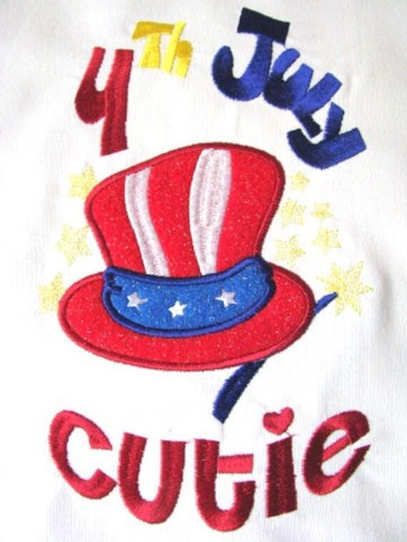 4th July Cutie Machine Applique Embroidery Design - 4x4, 5x7 & 6x8