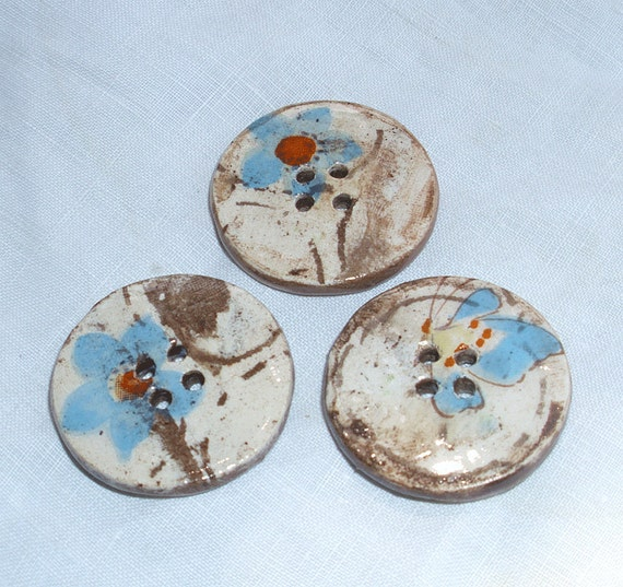 3 ceramic buttons  -  lovely light blue decal flowers - hand made