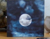Vision, Full Moon amidst night clouds, photograph, photo, 3.25inch wooden box-frames, photo block
