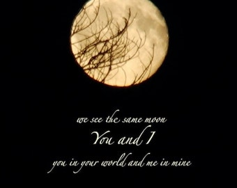 We see the same moon, Moon photograph quotation, night sky, print with quotation, word art, tree branches, full moon quote, friendship