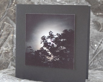 Moon note card, full moon, moonlight, gift card, photo card, black square, moon print, night sky