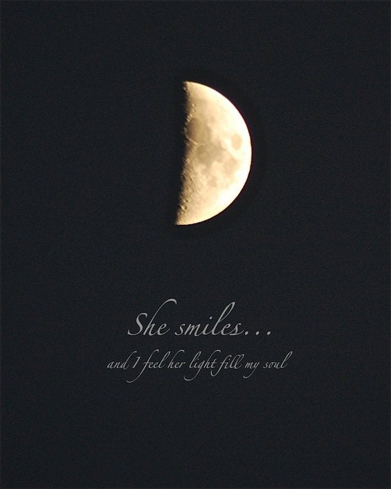 Half Moon She Smiles moon photo quote 4 x 6 quotation