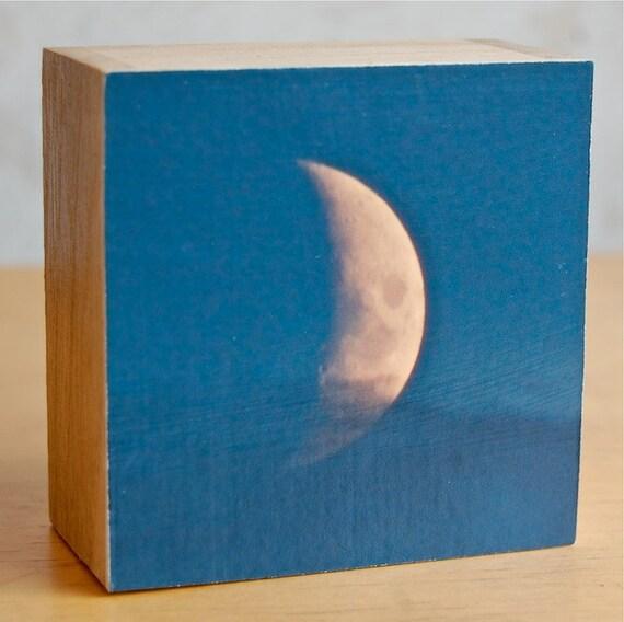 Peace, Moon Photo Block, Crescent Moon photograph, photograph, photo, 3.25inch wooden box-frames, photo block