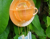 Vintage Teacup and Saucer Windchime / Mobile -- Indoor / Outdoor -- Upcycled Fire King