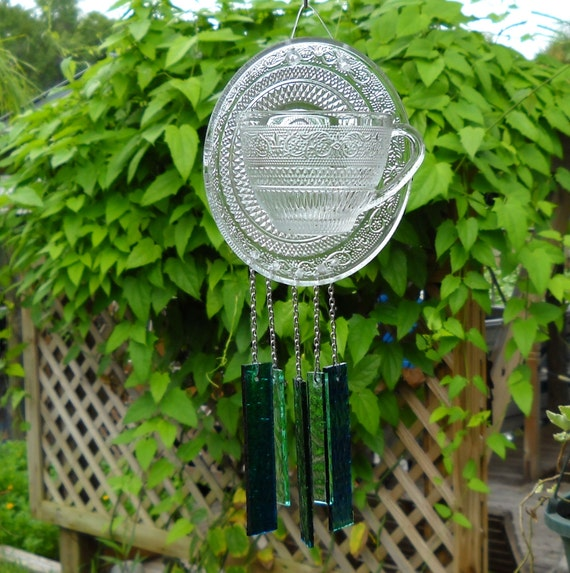 Recycled Crystal Clear Vintage Baccarat Arabesque Teacup and Saucer Wind Chime, Glass Yard Art, Window Treatment, Stained Glass Windchime