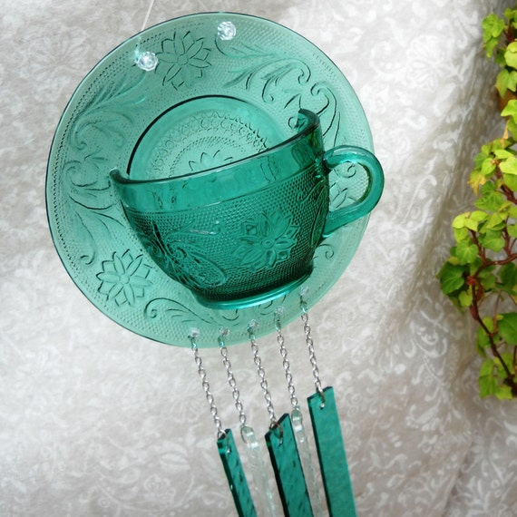 Spruce Tiara Sandwich Glass Wind chime -- Vintage Tea cup and Saucer
