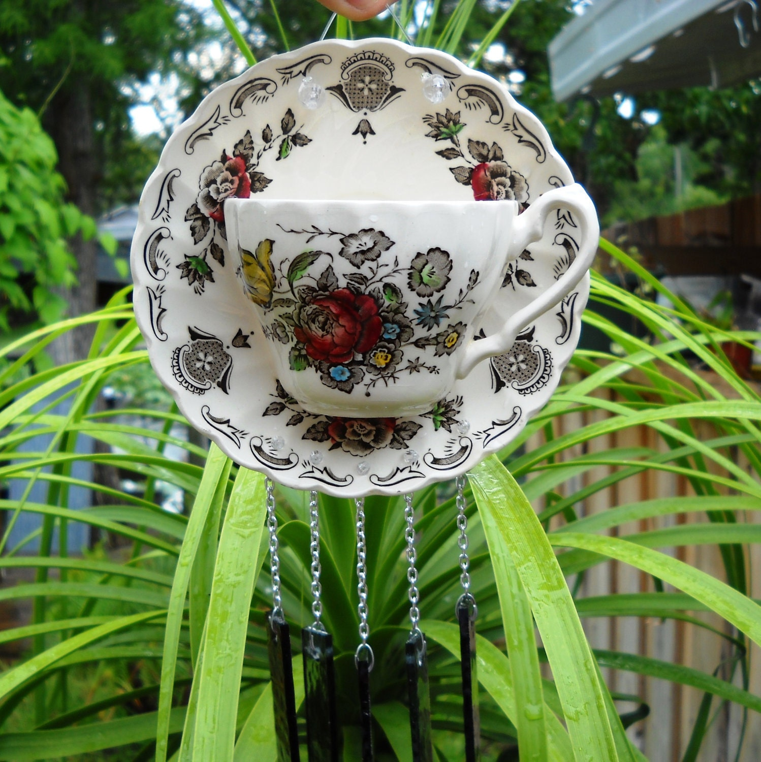 Collectable Garden Art Vintage Glass Wind Chime With