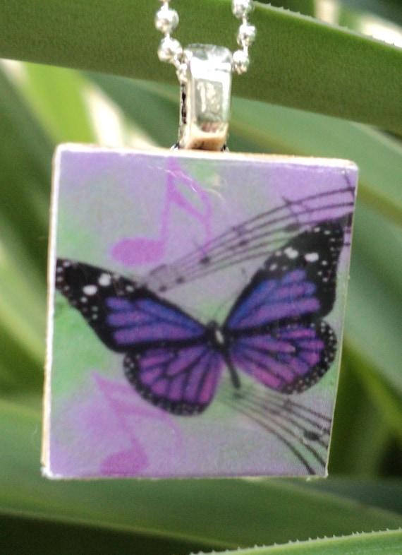 Musical Butterfly Scrabble pendant