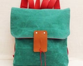 Cute Green Waxed Canvas  Backpack  with Adjustable Red Cotton Strap / School / Travel / Rucksack / Laptop Bag