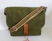 Green Waxed Bag Canvas Single Cotton Strap Messenger bag / Cross Body Messenger / School / Travel / Laptop bag