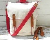 Waxed Canvas Bag White Multifunctional / Cross Body Messenger / Backpack / School / Travel / Laptop bag