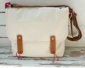 White Waxed Canvas Bag  Single Leather Strap Shoulder bag / Cross Body Messenger / School / Travel / Laptop bag