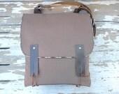 Brown Canvas Leather Strap Shoulder bag / Cross Body Messenger / School / Travel / Canvas Messenger Bag