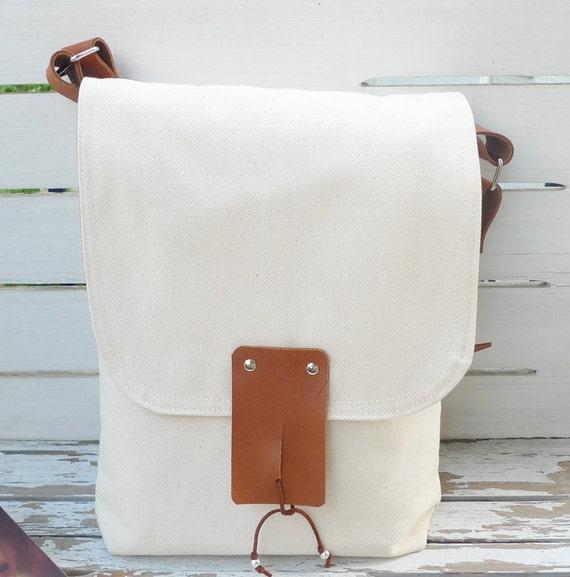 Ottobags Handmade White Waxed Canvas Leather Single Strap Shoulder bag / Cross Body Messenger /Canvas Messenger Bag
