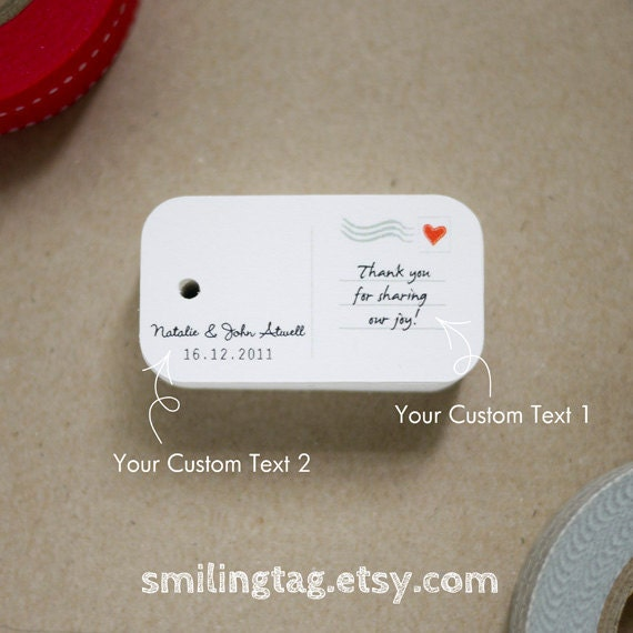 Personalised Wedding Gift Tags : Postcard Personalized Gift Tags - Wedding Favor Tags - Thank you tags ...