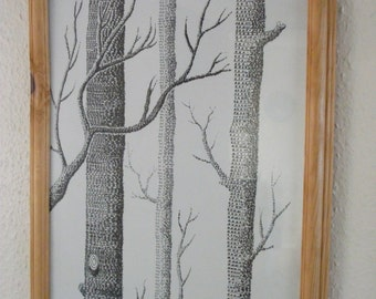 Black and White Framed Cole and Son Tree Woods Forest Image Art